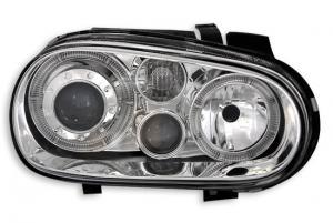 VW Golf 4 přední světla Angel Eyes-Chrom