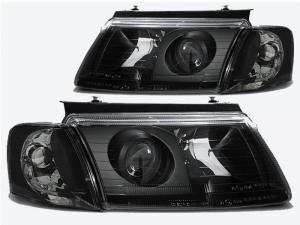 VW Passat B5 přední černá světla s čočkou.