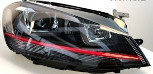 VW GOLF 7 - Přední světla U-TYPE TRU DRL GTI LOOK RED LINE.