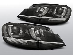 VW GOLF 7 - Přední světla U-TYPE TRU DRL GTI LOOK CHROM LINE.
