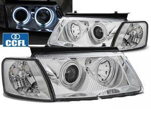 VW Passat B5 přední světla Angel Eyes CCFL - Chrom.