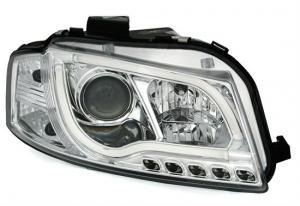 Audi A3 přední světla s denním svícením - Chrom.