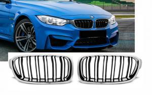 BMW F30/F31 - přední ledvinky vzhled M3 - Black/Chrom.