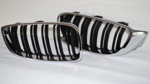BMW F32 F33 F36 13- M4 přední ledvinky - Black/Chrom.