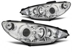 Peugeot 206 přední světla Angel Eyes CCFL-Chrom