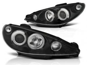 Peugeot 206 přední světla Angel Eyes CCFL-Black.