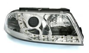 VW Passat B5.5 (3BG) přední světla s denním svícením - Chrom.