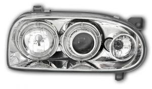 VW Golf 3 přední světla Angel Eyes-Chrom