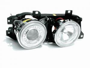 BMW E34 přední světla Angel Eyes-Chrom