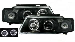 VW Passat B5 přední světla Angel Eyes-Black.