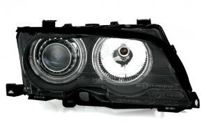 BMW E46 (coupe + cabrio) přední světla Angel Eyes-Black (FACELIFT)